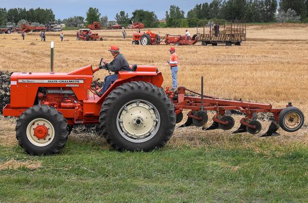 Small farmer rides plow