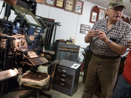 Former typesetter at Minneapolis Star talks about typesetting and gives demonstration.
