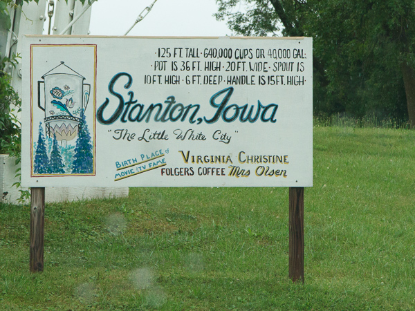 A sign giving stats of the water tower