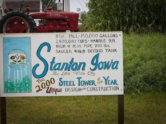 Sign giving stats of Cup and Saucer Water Tower
